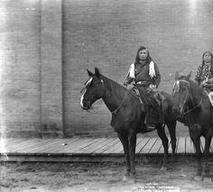 Captain Billy and his wife on horseback, ca. 1900 :: American Indians of the Pacific Northwest -- Image Portion