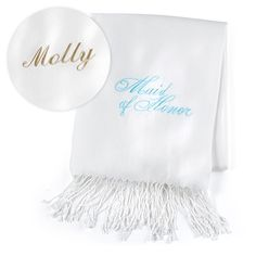 "Maid of Honor - Pashmina - Personalized - White - This white scarf made of fine-quality material comes personalized and features a ""Maid of Honor"" design embroidered in aqua."