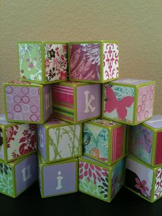 Pink and Green Building Blocks by OllieBeez on Etsy, $28.95