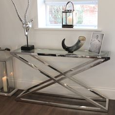 Brooklyn Chunky Chrome & Glass Console Table- maybe we could have a side table too? Glass Furniture, Steel Furniture, Living Furniture, Home Decor Furniture, Custom Furniture, Furniture Design, Unique Coffee Table, Coffee Table Design, Glass End Tables