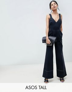 1966e901bb7 DESIGN Tall Jumpsuit In Twill With Tie Detail And Wide Leg