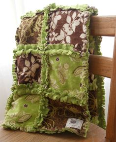 green rag quilt | Green and Brown GiRL Flannel Rag QuiLT with Olive GReeN SuPeR SoFT ...
