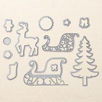 Santa's Sleigh Dies Thinlits available 9/1/16 - 1/3/17, $30.00 #140278. Coordinates  w/ Santa's Sleigh stamp set (P) $21.00 #142057. Bundle $45.75 #143499