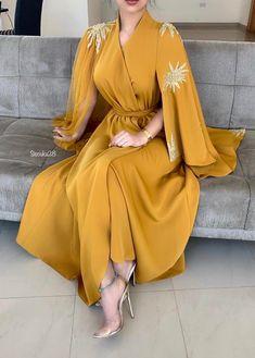 yellow prom dresses 2020 v neck long sleeve lace appliques beading sequins a line evening dresses formal dresses Abaya Fashion, Muslim Fashion, Modest Fashion, Fashion Dresses, Fashion Fashion, Abaya Mode, Mode Hijab, A Line Evening Dress, Formal Evening Dresses