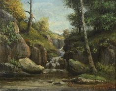 Gustave Courbet, Landscape Paintings, 19th Century, Waterfall, Falling Waters, Prints, Poster, Art, Woodwind Instrument