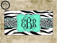 Mint monogram license plate  Mint green with by ToGildTheLily, $16.99