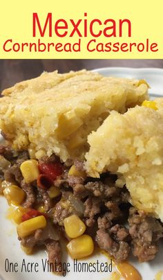 Mexican Cornbread Casserole ⋆ One Acre Vintage & Pumpkin Patch Mtn. - - Mexican cornbread casserole has a filling of salsa, cheese and seasoned ground beef all topped with sweet cornbread mixture. Easy Mexican Cornbread, Mexican Cornbread Casserole, Cheesy Cornbread, Chili And Cornbread, Casserole Recipes, Cornbread Recipes, Hamburger Casserole, Mexican Cornbread Recipe Ground Beef, Mexican Corn Bread Recipe