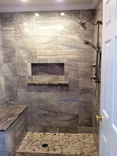 North Hills Flooring - Cermaic tile Terra Ege Grey on shower walls and niche. Bati Orient Pebble Rock on shower floor. Shower Floor, Shower Walls, Shower Curtains, Bathroom Tile Designs, Bathroom Ideas, Open Showers, North Hills, Flooring Store, Upstairs Bathrooms