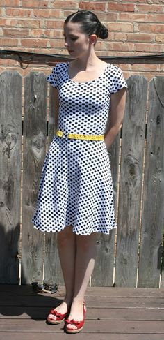 "Sew Sweetness' Lady Skater Dress from Kitschy Coo patterns.  I have been loving knits this summer, I think I just may have to make me one of these!!  There's also a pattern ""tour"" where different bloggers post about the dress.  Definitely some other interesting blogs to check out!"