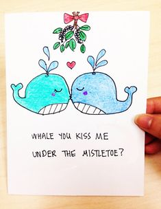 Whale you kiss me under the mistletoe cute and by LoveNCreativity