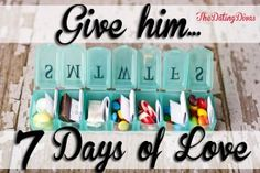 7 Days of Love. If someone is going away for a week or something send a week's worth of encouragements and little presents in a box like this. This is the cutest idea I've ever seen! My Funny Valentine, Valentines, Craft Gifts, Diy Gifts, Craft Projects, Projects To Try, Do It Yourself Inspiration, Little Presents, Creative Gifts
