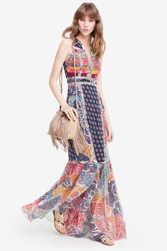DVF Amabelle Snake Trim Pieced Silk Gown