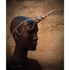 Unicorn Horn Chain Circlet a wearable unicorn horn headband for... ($60) ❤ liked on Polyvore featuring accessories, hair accessories, hair bands accessories, head wrap headband, headband hair accessories, unicorn headband and chain headwrap