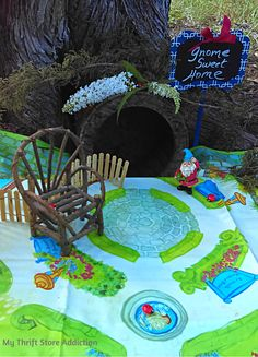 Gather yard sale finds to create a whimsical gnome sweet home with your child or grandchild!…
