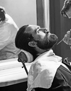 This is a great image - love the rugged beard, although the scissors going in for the trim look like they might stab him!