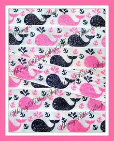 NEW 1 3 or 5 yards 7/8 Nautical Glitter WHALES by WhimsyRibbonShop, $1.79