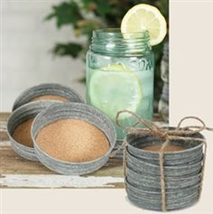 Mason jar lids as coasters