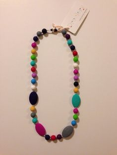 Multicolor AMELIA Silicone Teething Necklace by Droolery FREE SHIPPING