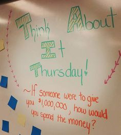 How would you spend it? #miss5thswhiteboard #teachersfollowteachers #iteachfifth