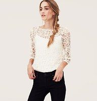 Petite Lace Blouse - Swirls of intricate lace beautify this open-stitched stunner. Add a cami beneath for more coverage. Boatneck. 3/4 peasant sleeves. Banded neckline. Gathered elasticized cuff.