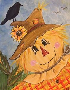 love how scarecrows suggest happy harvest time Fall Canvas Painting, Autumn Painting, Autumn Art, Tole Painting, Canvas Art, Fall Paintings, Canvas Paintings, Scarecrow Painting, Halloween Painting