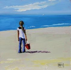 Possibilities - daily painting,children playing at the beach, painting by artist Debbie Miller. This looks just like me as a child.