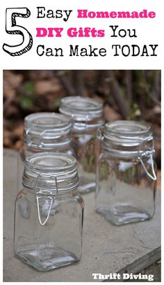 """Do you despise commercialized gifts? If so, here are 5 homemade DIY gifts that you'll love, and are easy gift ideas that you can make today. Include 1) Upcycled """"Get Pampered"""" gift basket 2) DIY face and body scrubs 3) Love Jars 4) DIY foot scrubber, and 5) The Family Jar Thrift Diving"""