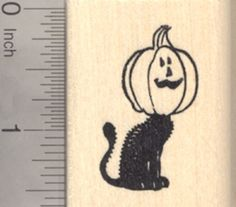 Halloween Black Cat Rubber Stamp with Jack oLantern Pumpkin >>> You can get more details by clicking on the image.