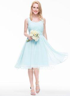 [US$ 98.49] A-Line/Princess Scoop Neck Knee-Length Chiffon Bridesmaid Dress With Ruffle (007072793)