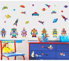Brandream Kids Rooms Wall Sticker Boys Robots Wall Decals Nursery Room Wall Stickers -- You can find more details by visiting the image link. (Note:Amazon affiliate link)