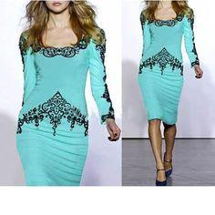 Womens Knee Length Dress - Light Blue / Black Lace Print