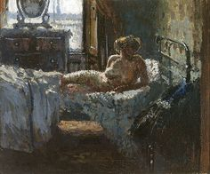 Walter Sickert, Mornington Crescent nude, contre-jour, 1907    From the National Gallery of Australia:        Mornington Crescent nude, contre-jour is one of a series of works that Sickert painted following the murder of a prostitute in Camden Town, the rough North London neighbourhood where he lived and had a studio. It has been argued that the real subject of this work is in fact the effect of natural light. The French term contre-jour means lit from behind that is, almost producing the…