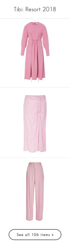 """""""Tibi: Resort 2018"""" by livnd ❤ liked on Polyvore featuring tibi, livndfashion, livndtibi, resort2018, dresses, pink, front lace corset, ruched dress, pink corset and pink ruched dress"""