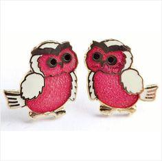 Vintage cloisonne enamel owl bird stud earrings jewellery on eBid United Kingdom