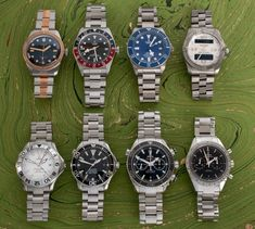Four Omega's including a pair of popular slightly older Seamasters, two Tudor watches, an Oris in steel & bronze, and a Breitling Aerospace.  Let us know if you have questions on any of these watches.