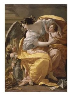 Simon Vouet, Allegory of Wealth, oil on canvas, 170 x 124 cm (Musée du Louvre, Paris) Art Du Temps, Louvre Museum, Art Français, Louvre Paris, La Rive, Baroque Art, Italian Baroque, Classical Art, French Art