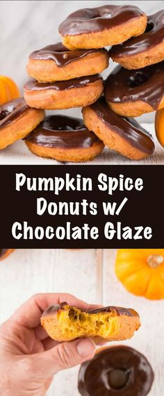 Pumpkin Spice Donuts are an easy and quick donut recipe. Paired with a chocolate glaze, because chocolate and pumpkin together are everything.