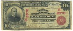 Only one other red seal is recorded for this Ohio national bank located in Guernsey County. That piece, which is also a ten, is considerably uglier. This piece is from the M&M hoard and has the original price tag of $15.00 on it.