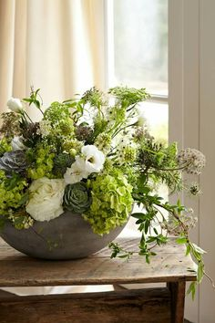 birmingham floral designer buffy hargett miller produces summer-ripened arrangements that look inspired by a trip to the farmers market // photo becky luigart-stayner White Flower Arrangements, Flower Arrangement Designs, Silk Floral Arrangements, Flower Designs, Flower Ideas, Flower Diy, Succulent Arrangements, Green Flowers, Love Flowers