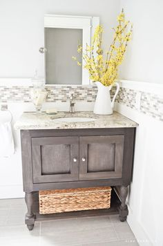 Now this Pottery Barn Inspired DIY Sink Console comes from Nina Hendrick. She shows us how to build it from scratch for a fraction of the cost. You are going to be very impressed with the finished project. This is a full weekend project but one that is very satisfying and will look totally amazing. …