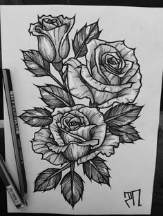 drawing of roses- dibujo de rosas black and white drawing of roses - Rose Drawing Tattoo, 4 Tattoo, Tattoo Sketches, Tattoo Drawings, Rose Tattoos For Men, Black Tattoos, Tattoos For Guys, Flower Tattoo Designs, Flower Tattoos