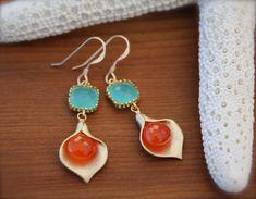 Chalcedony and Carnelian Calla Earrings Gold by YaniaCreations