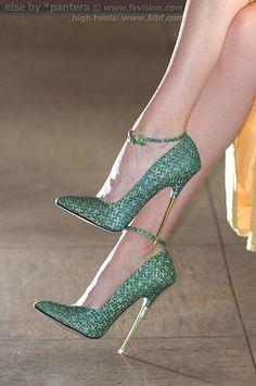 SP16 Metallic High Heels Green with Yellow Cross