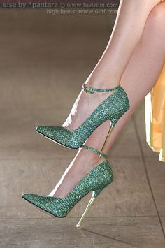 SP16 Metallic High Heels Green with Yellow Cross | Flickr : partage de photos !