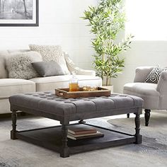 Tufted Ottoman Coffee Table Centerpiece Suitable For Living Rooms. Large Storage Bench Provides Comfort And Functionality. Grey Linen Fabric And Rustic Dark Oak Hardwood Create Modern Farmhouse Feel. Tufted Ottoman Coffee Table, Upholstered Sofa, Coffe Table, Coffee Table Centerpieces, Decorating Coffee Tables, Contemporary Dining Room Sets, Modern Room, Large Storage Bench, Coffee Table Accessories
