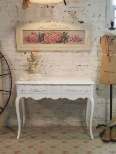 Painted Cottage Chic Shabby Romantic White French Desk