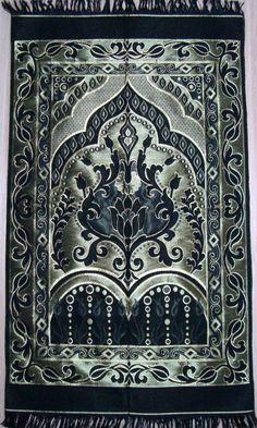 BLACK islamic prayer rug - CARPET - Mat Namaz Salat Musallah Tafta islamic gift