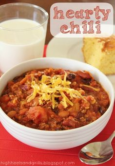 Hearty Chili // High Heels and Grills. This is probably one of the best chili recipes I've ever had. Lots of good stuff in it and the flavor is great!