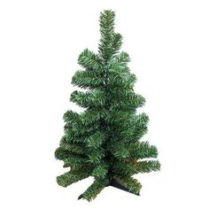 "AdmiredbyNature 1' Green Pine Tree Artificial Canadian Christmas with Plastic Stand Size: 24"" H x 7"" W x 7"" D"