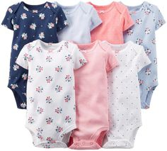 Carter's Baby Girls' 7 Pack Bodysuits (Baby) - Girl Assorted - Newborn